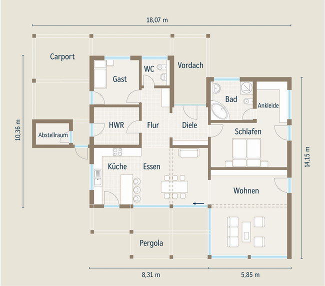 Grundriss bungalow l-form  Hausbautipps24 - Genusswohnen auf einer Ebene