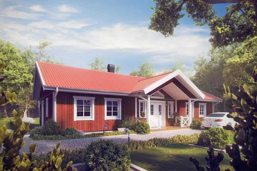 beim schwedenhaus hat der bungalow auch ein satteldach. Black Bedroom Furniture Sets. Home Design Ideas